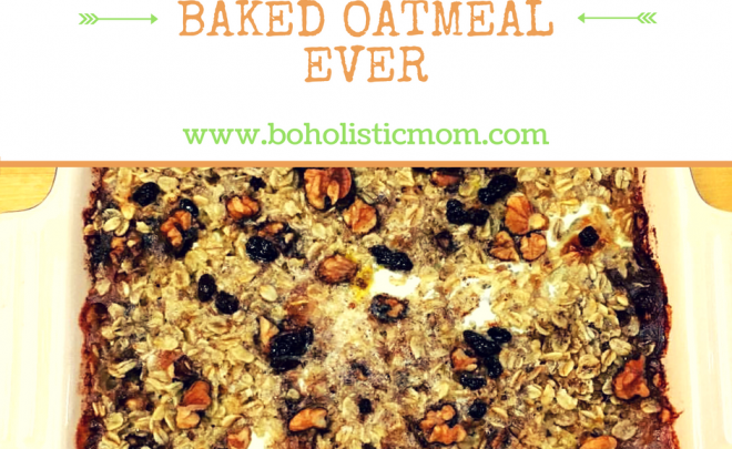 Baked Oatmeal Recipe with Black Currants and Walnuts